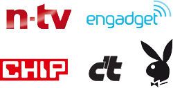 As seen in the media: n-tv engadget CHIP c't PLAYBOY